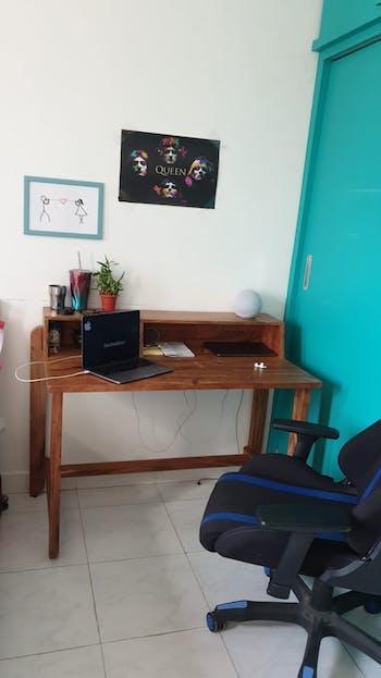 Eden Teak Finish Solid Wood Workstation Table