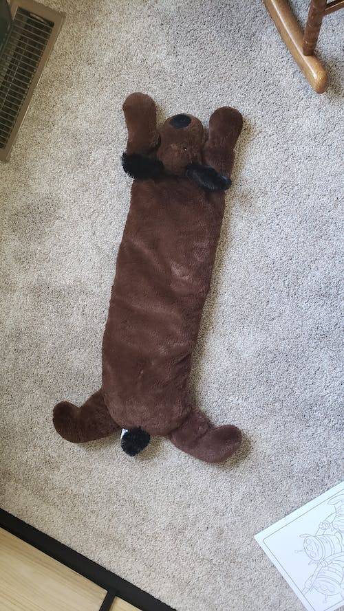 Huggaroo Weighted Lap Pad - Plush Puppy, 3.6 lb, Washable, Brown