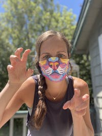 Color Lion by Chris Mountain: Art Print Face Mask- Adult