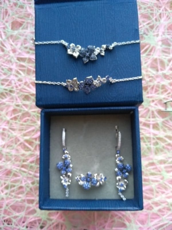 Stunning Blue Flower Fine Jewelry Set