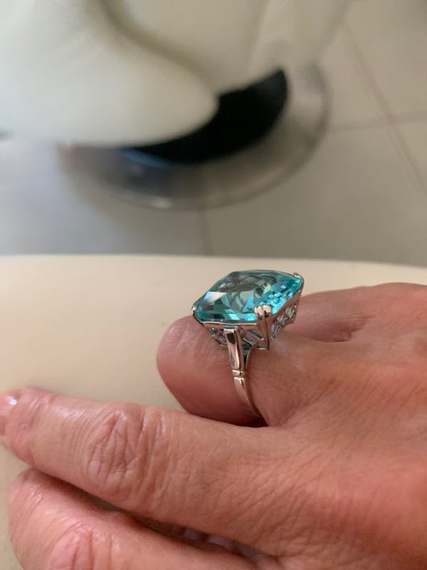 Vintage Style Aquamarine 925 Sterling Silver Ring