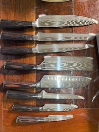 Set de 7 couteaux type Japonais - Chef Tanaka - Forest Wood