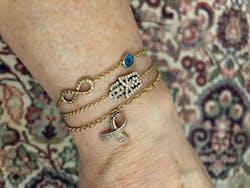 White Diamond Small Oriental Hamsa Bracelet