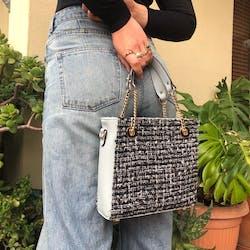 Cloud Hydrangea Tweed Handbag