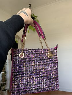 Fuscia Field Tweed Handbag