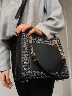 Obsidian Orchid Tweed Handbag