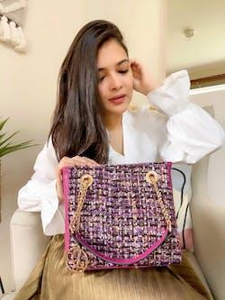Fuscia Field Tweed Handbag