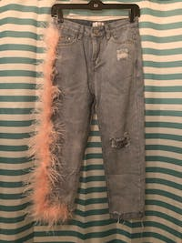 Don`t Waste My Time Feather Boyfriend Jeans