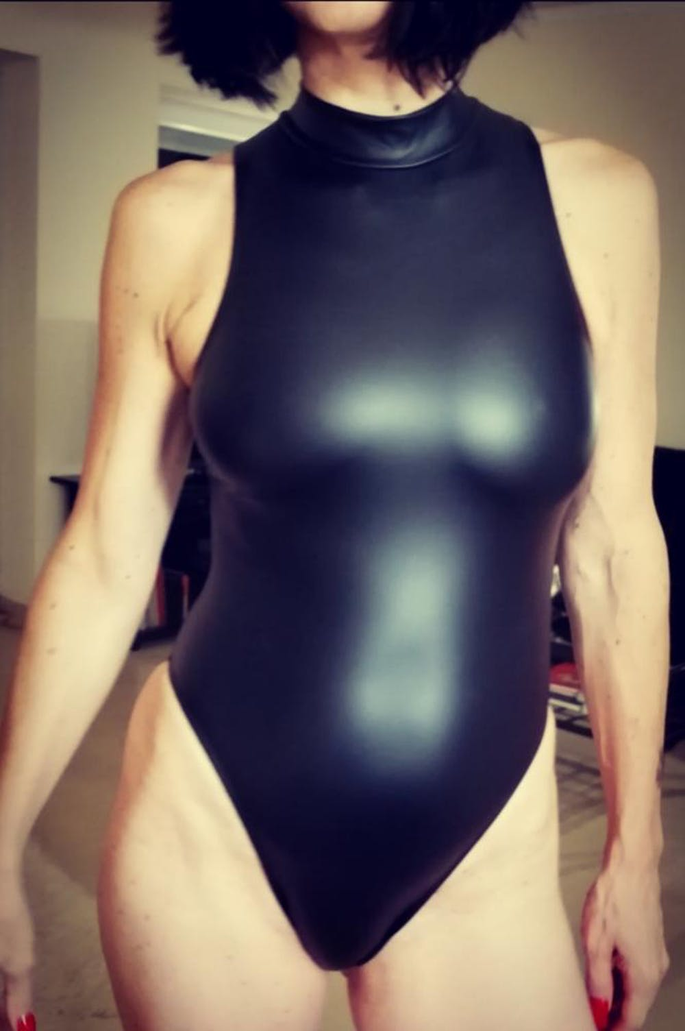 Black Spandex Sleeveless Bodysuit w/ Front/Back Zipper