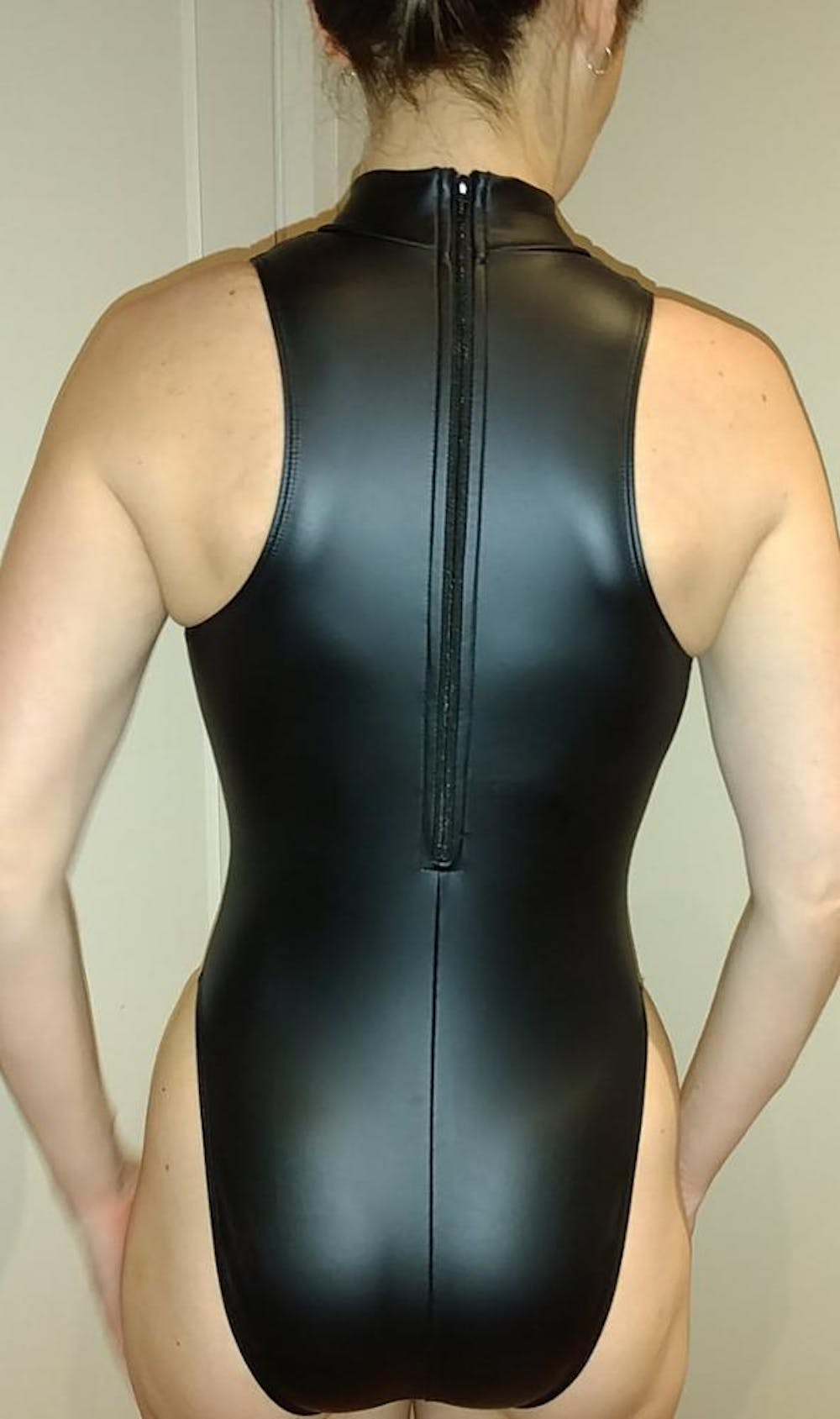 Black Spandex Sleeveless Bodysuit w/ Front/Back Zipper