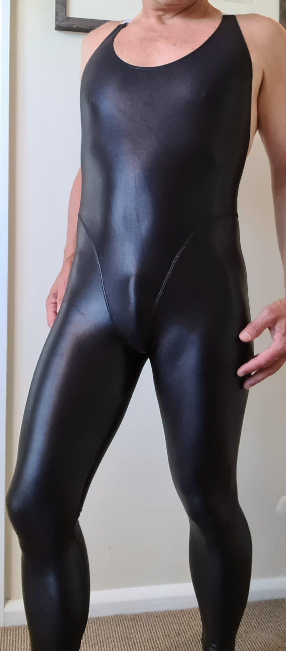 Spandex Wet Look Jumpsuit w/ Cross Strap