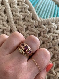 Reserved - Antique 1915 9ct Rose Gold Star Celestial Gypsy Ring