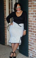 Women Skirt Vintage Polka Dots Asymmetric Bowknot Skirt