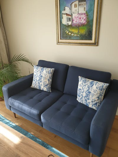 Navy Blue Modular Loveseat