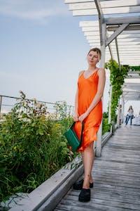"""""""Samantha"""" MIDI Silk Slip Dress - Flame"""