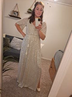Celia Silver Sequin Maxi Dress