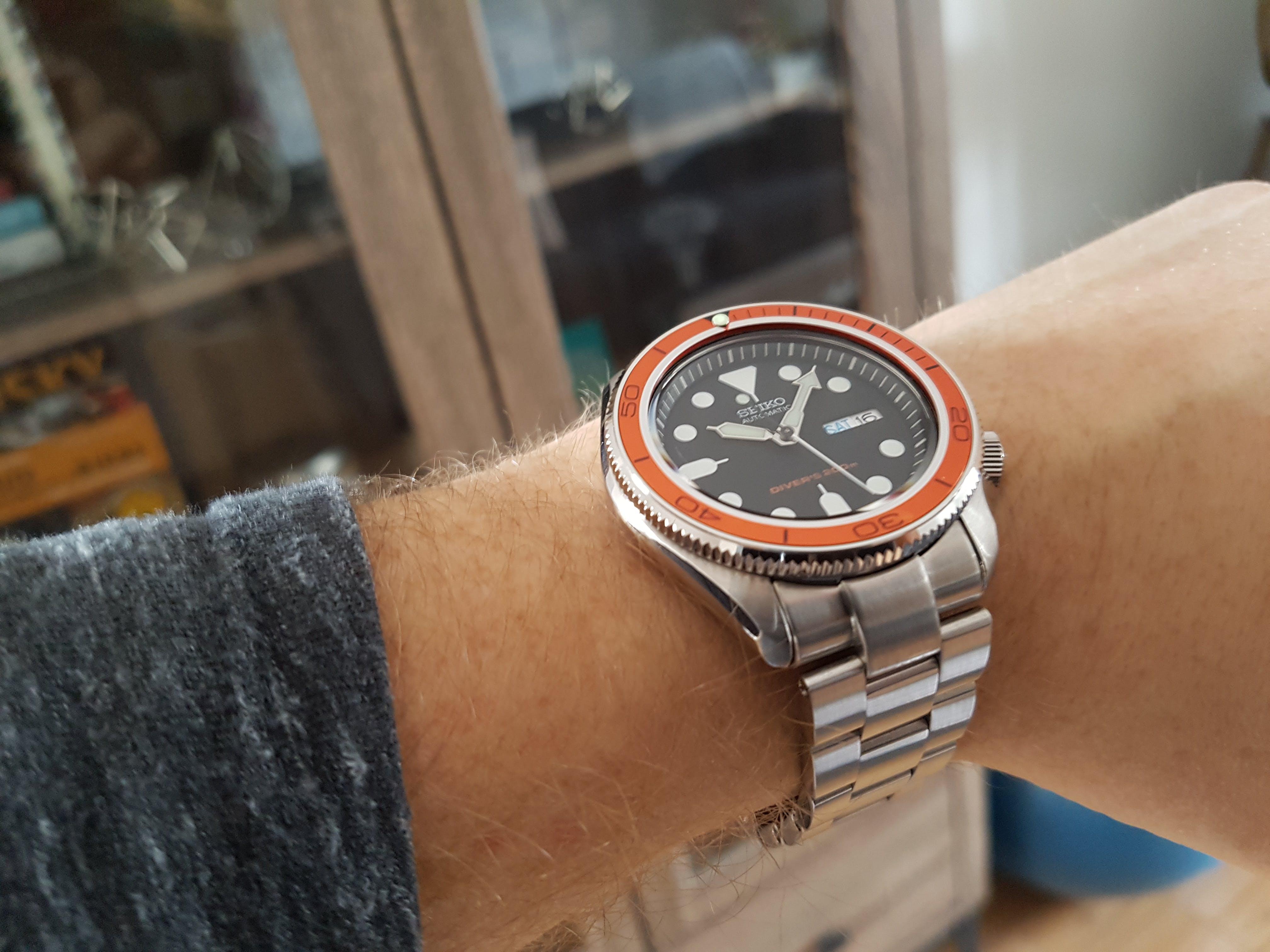 SKX Aluminium Bezel Insert: PO Style Orange