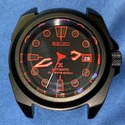NMK907 3 O'Clock No Crown Guard SKX007/SRPD Watch Case : PVD Black Finish