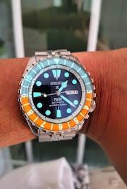 SKX007/SRPD Lumed Glass Bezel Insert: Dual Time Style Gulf
