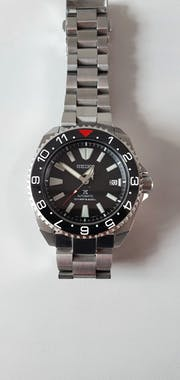SRP Turtle Ceramic Bezel Insert: Dual Time style Black/White/Red