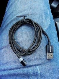 Set de 2 cargadores magnéticos 3 en 1, cable de carga Micro USB, Tipo C y iPhone, cable de carga múltiple, cable de teléfono móvil, cable magnético 3 entradas, cable de datos USB magnético de 2 metros