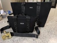 Harper (Ribbed Black) Mini Neoprene Tote/Crossbody Bag- With Zip Closure