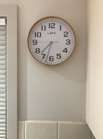 Leni Wood Wall Clock, White, Small, 28cm