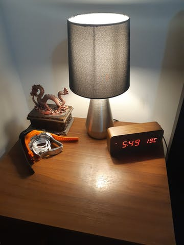 Checkmate Spruce LED Wood Cuboid Alarm Clock, Dark Brown, 16cm