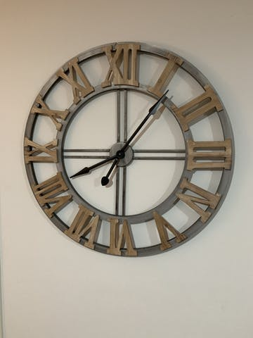 Floating Industrio Hampton Metal Wood XXL Wall Clock, 90cm