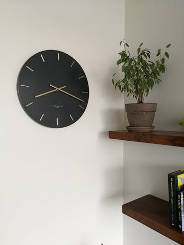 One Six Eight London Luca Wall Clock, Charcoal Grey, 40cm + GIFT