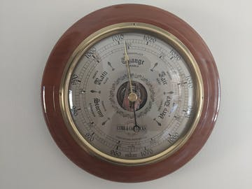 COBB & Co Round Barometer, Oak, 28cm