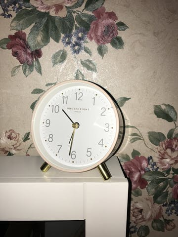 One Six Eight London Maisie Alarm Clock, Blush, 11cm