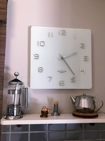 Baxter Square Glass Wall Clock, White, 35cm