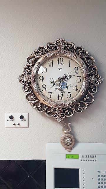 Bernice Pendulum Wall Clock, Silver, 42cm