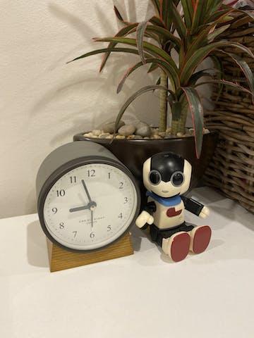 One Six Eight London Nina Alarm Clock, Charcoal Grey, 12cm