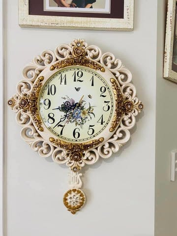 Brynna Pendulum Wall Clock, Cream, 42cm