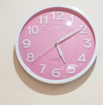Cayden 3D Numbers Domed Wall Clock, Pink, 31cm