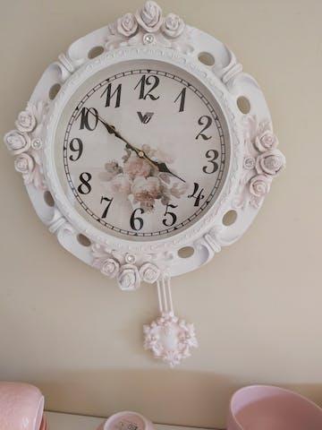 Bronwen Pendulum Wall Clock, White, 39cm