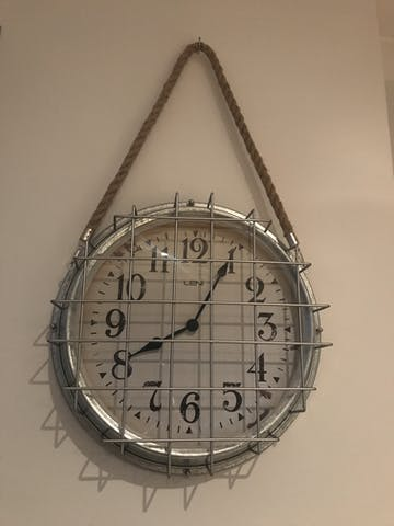 Leni Galvanised Hanging Rope Outdoor Wall Clock, Silver, 41cm