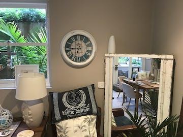 Hotel Les Flots Bleus Vintage Metal Wall Clock, White, 47cm