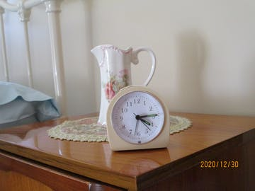 TFA Retro Alarm Clock, Cream, 9cm