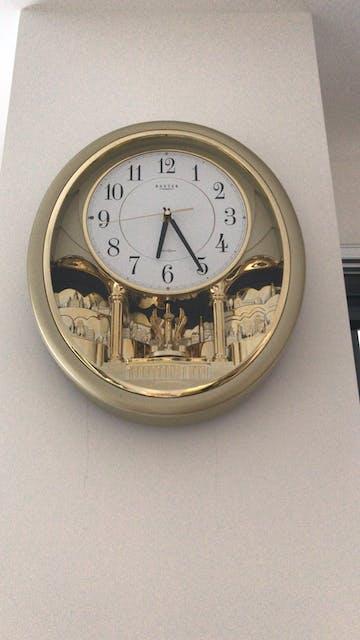 Baxter Aretha Musical Tunes Pendulum Wall Clock, Gold, 43cm