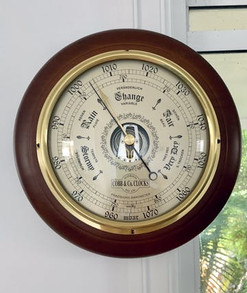 COBB & Co Round Barometer, Antique, 28cm