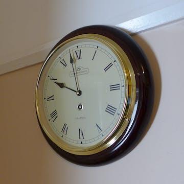Cambridge Wooden Station Wall Clock, Roman, Gloss, Dark Brown, 32cm