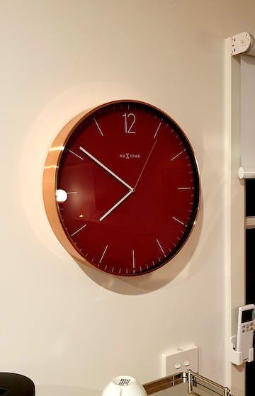 NeXtime Very Essential Wall Clock, Wine Red & Copper, 40cm