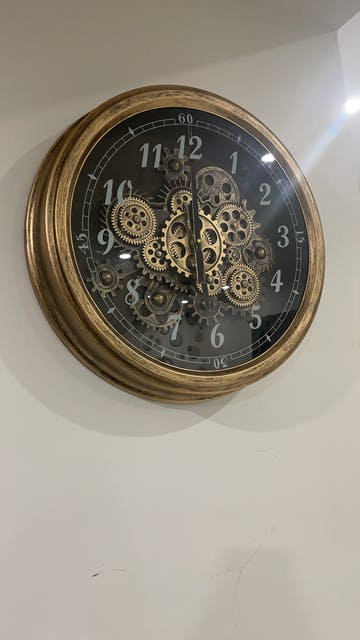 Intricate Gold Moving Cogs Wall Clock, 53cm