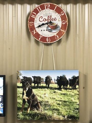 TFA Coffee Vintage Wood Wall Clock, 34cm