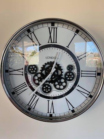 London Moving Gears Metal Wall Clock, Chrome & White, 55cm