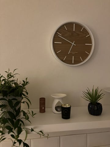 One Six Eight London Willow Wooden Wall Clock, White, 30cm