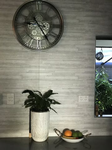 Kensington Industrial Silver Wash Iron Moving Gears Wall Clock, 55cm